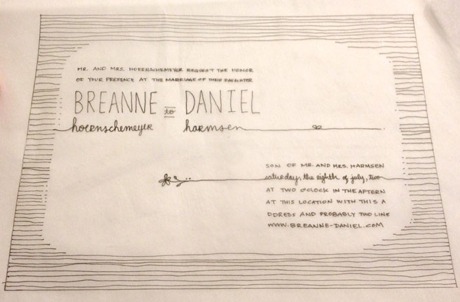 Breanne & Daniel - hand drawn layout