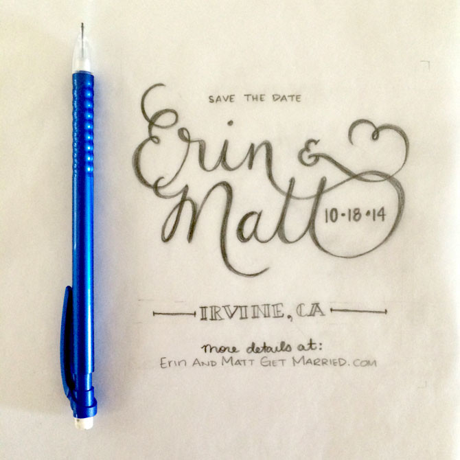 Erin & Matt - hand lettered typography