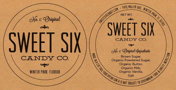 Sweet Six Candy Co. - package label