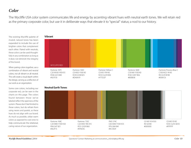 Color palette for the Brand